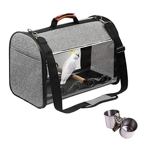 VEROMAN 鳥 インコ 移動用 バード キャリー バッグ 餌入れ付き 小さく収納 (グレー×オレンジ)