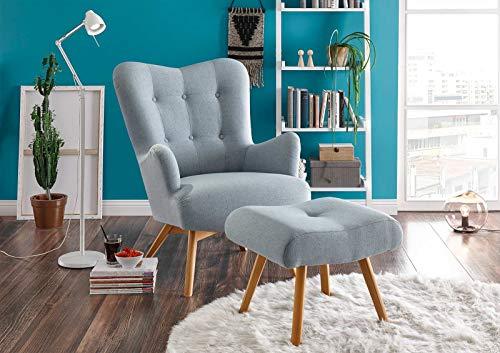 lifestyle4living Sessel in hellblauem Webstoff, inkl. Hocker   Der perfekte Sessel für entspannte, Lange Fernseh- und Leseabende. Abschalten und genießen!