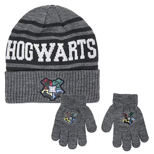 Harry Potter | Jungen Kinder 2 Stück Hut und Handschuhe Set | Warme Strickmütze | Gemütliche Winterhandschuhe | Hogwarts Design |