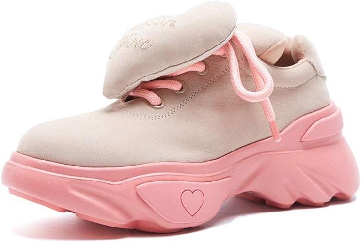 YAN paniers Femme nouveau 2019 Suede mode Platform Chaussures Faible-Top Décontracté Chaussures Mode Peach Heart Chaussures de Sport Kaki Noir,B,38