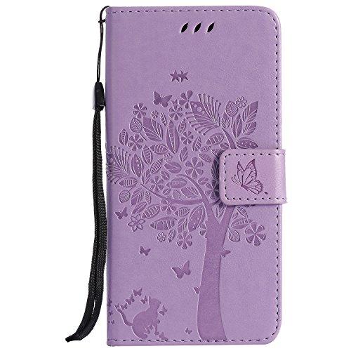 NEINEI Handyhülle für Sony Xperia Pro Hülle,PU/TPU Lederhülle Klapphülle mit Kartenschlitz,Magnetisch,3D Katze & Baum Muster Tasche Schutzhülle Flip Cover Hülle,Lavendel