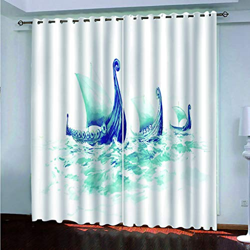 Hao Sai's shop Cortinas Opacas Impresión 3D Barco De Vela Simple Ojal Aislamiento Térmico Sala De Estar Dormitorio Decoración De Arte 180(H) X125(An) Cmx2 Piezas