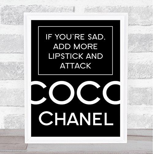 Zwarte Coco Chanel triest toevoegen lippenstift citaat muur Art Print Framed White Small