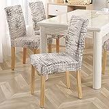 Cubierta de sillón de Material elástico de protección de Silla de Banquete de Oficina de Restaurante con Estampado de Cuerda Cubierta de Silla elástica A3 4 Piezas