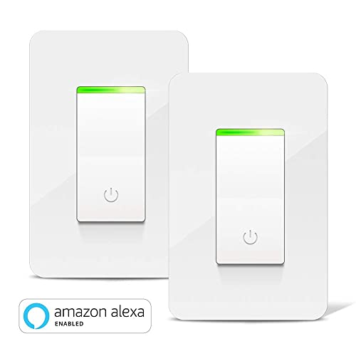Smart Light Switch, Aicliv WiFi Smart Switch 2 Packs, Works with Alexa Echo &