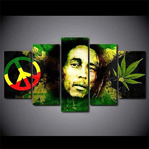 5 piezas cuadro en lienzo Cuadro compuesto por 5 lienzos impresos en HD, utilizados para decoración del hogar y carteles marihuana (150x80cm sin marco)