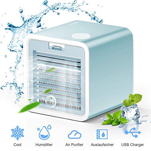VAZILLIO 3 en 1 Mini Enfriador de Aire, Aire Acondicionado Portátil, Humidificador con Mango, refrigerador de Aire para Trabajo y hogar (Azul Claro)