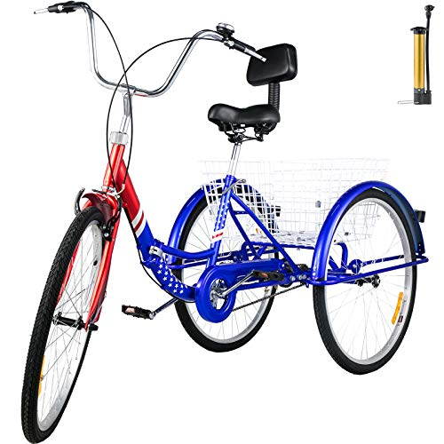 Find Discount Bkisy Tricycle Adult 24'' 1-Speed 3 Wheel Bikes for Adults Three Wheel Bike for Ad...
