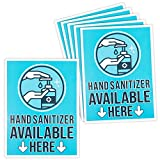 Hand Sanitizer Here Adhesive Sign Labels, Store Safety Sign (9 x 12 in, 6 Pack)