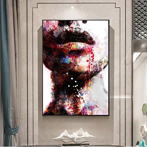 Abstract Meisjes muurkunst canvas prints mooie lippen pop-art muurschilderij kunstdruk moderne hoofdwanddecoratie afbeelding zonder lijst