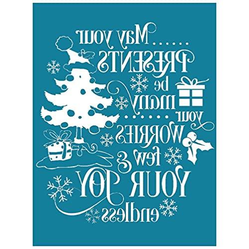 Plantilla de impresión de pantalla de seda autoadhesiva de regalo de árbol de Navidad con diseño de árbol de Navidad