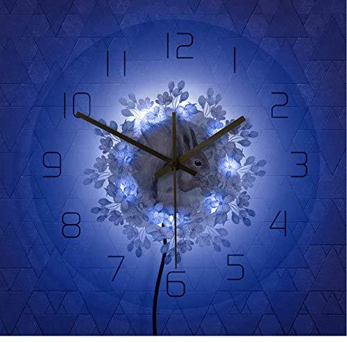 QAZQAZ Reloj de Pared Moderno de Arte de seguidor de Ardilla de Acuarela, decoración de guardería de Animales del Bosque, Reloj de Pared sin tictac para Sala de Estar-7_Colors_LED