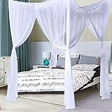 COSTWAY Moskitonetz für Doppelbett, Mückennetz aus Polyester, Bett Fliegennetz, Betthimmel inkl. Haken, Bettdekoration 220 x 200 x 210 cm(Weiß) - 3