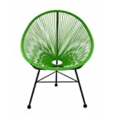 Design Tree Home Acapulco Indoor/Outdoor Lounge Chair Weave On Black Frame, Green