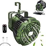 Ventilador de camping con linterna LED, 2 en 1, con batería, para tienda de campaña, lámpara LED con mando a distancia, USB, batería recargable, temporizador de 3 niveles de potencia 7-25H
