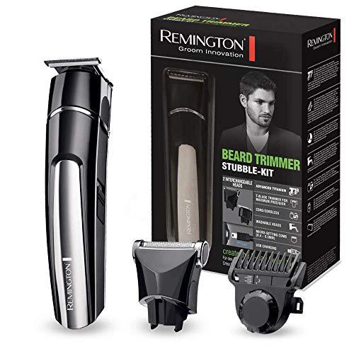 Remington MB 4110 - Cortapelos para barba, cuchillas revestidas de titanio, 2 cabezales intercambiables, carga USB