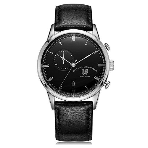 DuFa Unisex Chronograph Quarz Uhr mit Leder Armband DF-9007-01