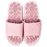 Massage Slippers Foot Reflexology & Acupressure Massagers Sandals for Men & Women Home Shoes Foot Acupoint Massage Pain Relief Non-Slip Massage Shoes for Bath Shower (Pink)