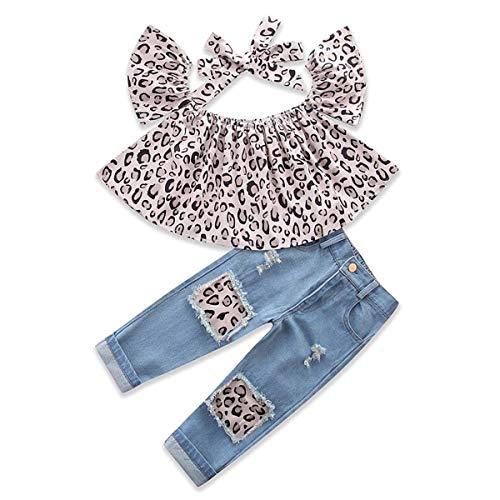 3 stks/set Baby Meisjes Mode Pak Off Schouder Luipaard Shirt Tops+Jeans+Hoofdband Kids Kleding (Maat: 3Y-4Y)
