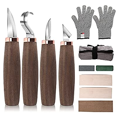Wood Carving Tools Pack of 11- Includes Black Walnut Handle Wood Carving Knife,Whittling Knife,Hook Knife,Polishing Compound,Sharpening Stone,Cut Resistant Gloves,Wood Carving Kit for Beginners.
