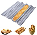ilauke Baguette Baking Tray Perforated French Stick Loaf Baking Molds Pan for 4