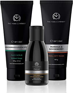 The Man Company Charcoal Cleansers Trio - Charcoal Peel Off Mask 100ml + Charcoal Face Wash 100ml + Charcoal Face Scrub 100gm
