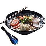 HAOGUO Juego de Cuencos de cerámica japoneses Grandes para Ramen, Cuenco de Fideos asiáticos de 45 oz con cucharas a Juego, Palillos, para Sopa, Fideos, Pho, Udon y Soba, 9.5 Pulgadas