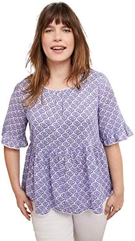 ellos Women s Plus Size Ruffle Sleeve Babydoll Blouse Shirt 22 White Blue Print product image