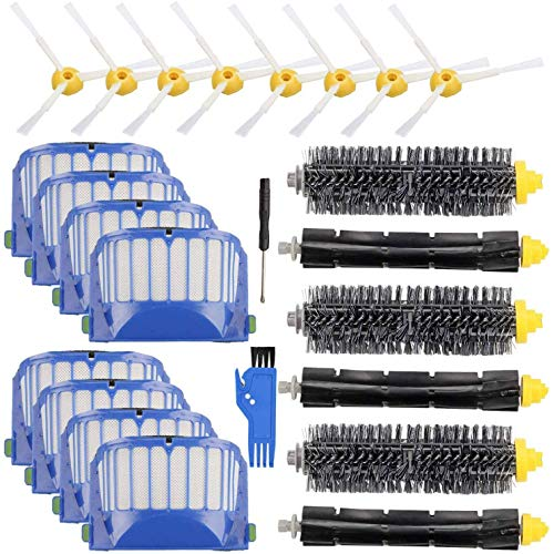 Kit de accesorios de 24 piezas de repuesto para aspiradora 600 500, 8 filtros 8 cepillos laterales, 3 cerdas y 3 cepillos batidores.