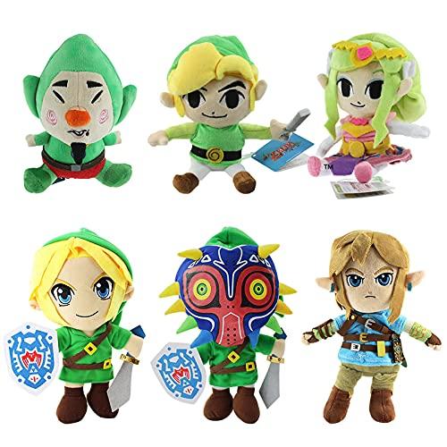 xuekun 6 Unids / Set Anime Dibujos Animados Zelda Juguetes De Peluche Majora Mask Link Boy Peluche Suave Muñecos De Peluche 18-30Cm