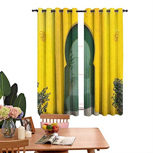 Blackout Curtains for Living Room- Curtains for Windows Morroccan Oriental Walkway Old Building Architecture Stone Carving Photo Green Yellow for Home Decoration Set of 2 Panels W55'x L39'