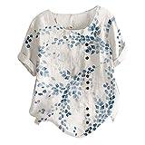 Camiseta casual de manga corta con cuello en O para mujer, blusa con estampado floral