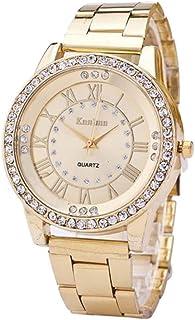 Hot Sale! Charberry Mens Diamond Gold Watch Crystal Rhinestone Stainless Steel Analog Quartz Wrist Watch