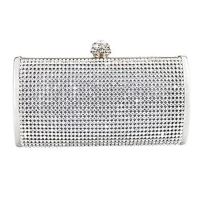 Emour Silver Crystal Diamond Evening Clutch Wedding Purse Party Prom Hard case handbag