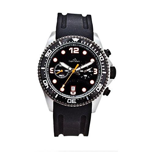 Capri Playa Reloj de Hombre colección Castiglione Buceo Caja de Acero 42mm Funciones Cronógrafo Medio/Grande Negro