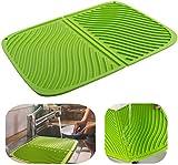 Stuoia per asciugare i piatti in silicone, grande stuoia drenante, stuoia per vasi resistente al calore ecologica, lavello lavabile in lavastoviglie 17 '' X13 '' (verde)