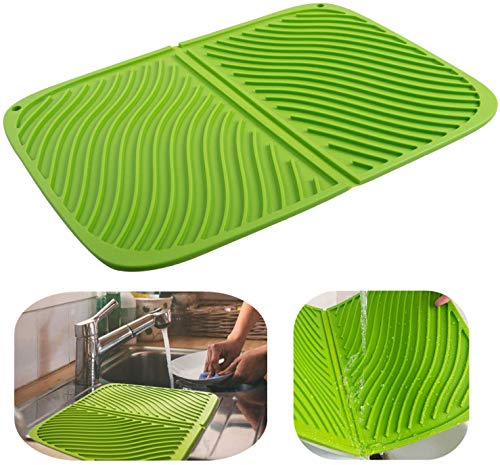 Alfombrilla de silicona para secar platos, Alfombrilla de drenaje grande, Alfombrilla resistente al calor, Salvamanteles apto para lavavajillas 17''X13 '' (verde)