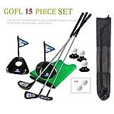 Juego de pelotas de golf Pro para niños pequeños, de metal, con banderas, pelotas de práctica deportivas, juego de golf de 24 pulgadas, entrenamiento de 17 unidades con mochila