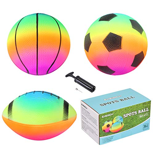 "EVERICH TOY Colorful Kids Balls with 1 Pump-Suitable for Toddler Outdoor Indoor Game-Balls Set Including 5"" Soccer Ball,5"" Basketball,6.5"" Football,1 Hand Pmup"