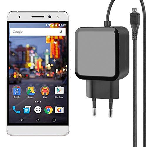 Fontastic Essential Ladegerät Micro-USB für General Mobile GM 5 Plus - Schwarz - 1,2m - 2,4A