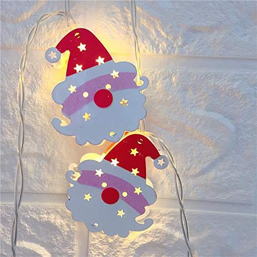 Juranting Led-lichtsnoer voor kerstman, eland-alpaca, lantaarn, kerstdag, decoratieve verlichting, 10 lampen, leeftijd man hoofd, 200 cm
