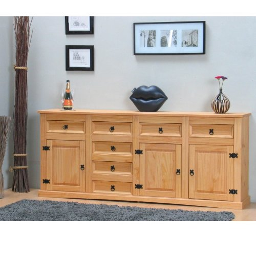Dynamic24 Sideboard New Mexiko massiv Mexico Anrichte Buffet Schrank Kommode Natur gelaugt