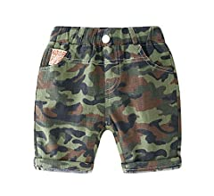 LAPLBEKE Baby Boys Elastic Waist Cotton Camo Print Summer Shorts Kids Short Pants Toddler Knee-Length Trousers