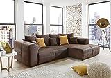 Cavadore Ecksofa Mavericco/Polster Eck-Couch mit Kissen in Antik-Leder-Optik und Holzfüßen/Longchair rechts / 285 x 69 x 170 / Mikrofaser Braun - 3