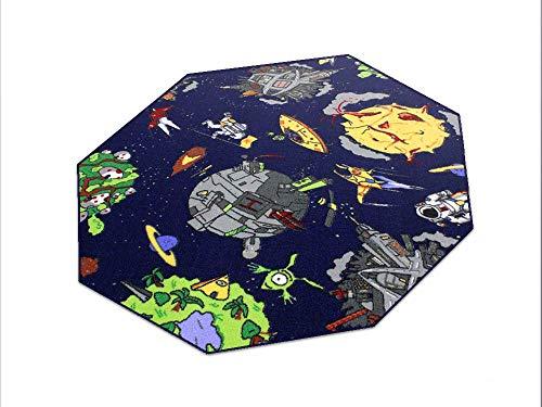HEVO Space blau Weltraum Teppich   Spielteppich   Kinderteppich 200 cm Achteck Oeko-Tex 100
