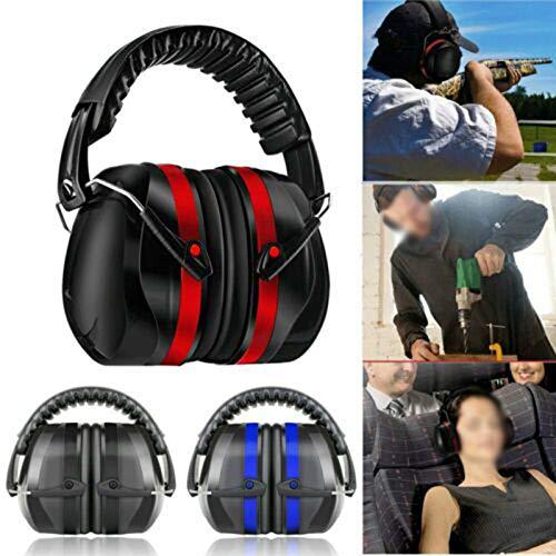 TTAototech Folding Ear Defenders, SNR 35dB Protectors Op het hoofd gemonteerde Geluidsdichte Geluiddichte Oordopjes Gehoorveiligheid Volwassen voor gehoorbescherming, Bouw, Werk, Vuurwerk Rood en Zwart