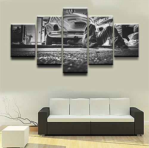 mmwin Imagen Modular Canvas HD Impreso Modern Home Decortive Wall Art Work Obra 5 Piezas Old Car Repair Landscape Poster