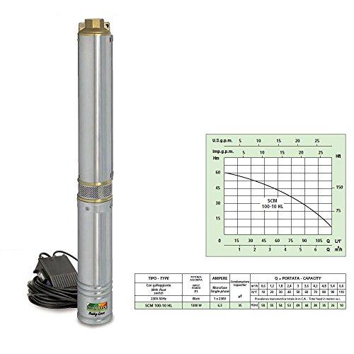 Marina SCM-100-10-HL dompelpomp POZZO 1300 W water 7200 LT/H immersion 20 MT elektrische pomp 9 Turbine tuinschuur Artesian