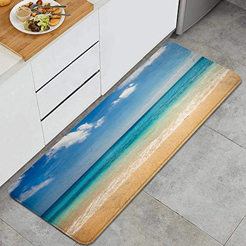 FOURFOOL Kitchen Rugs Sea View from Tropical Beach with Sunny Sky Non-Slip Area Rug Set Rubber Backing Doormat Entryway Runner Bedroom Living Room Mat