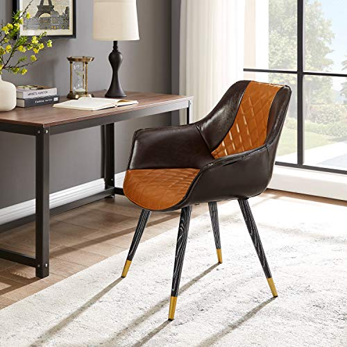 Volans Modern Mid-Century Comfy Leather Upholstered Cute Writing Desk Chair with Wood-Grain Metal Legs Accent Arm Chair for Kitchen Dining Room Living Room Bedroom, Brown& Dark Brown